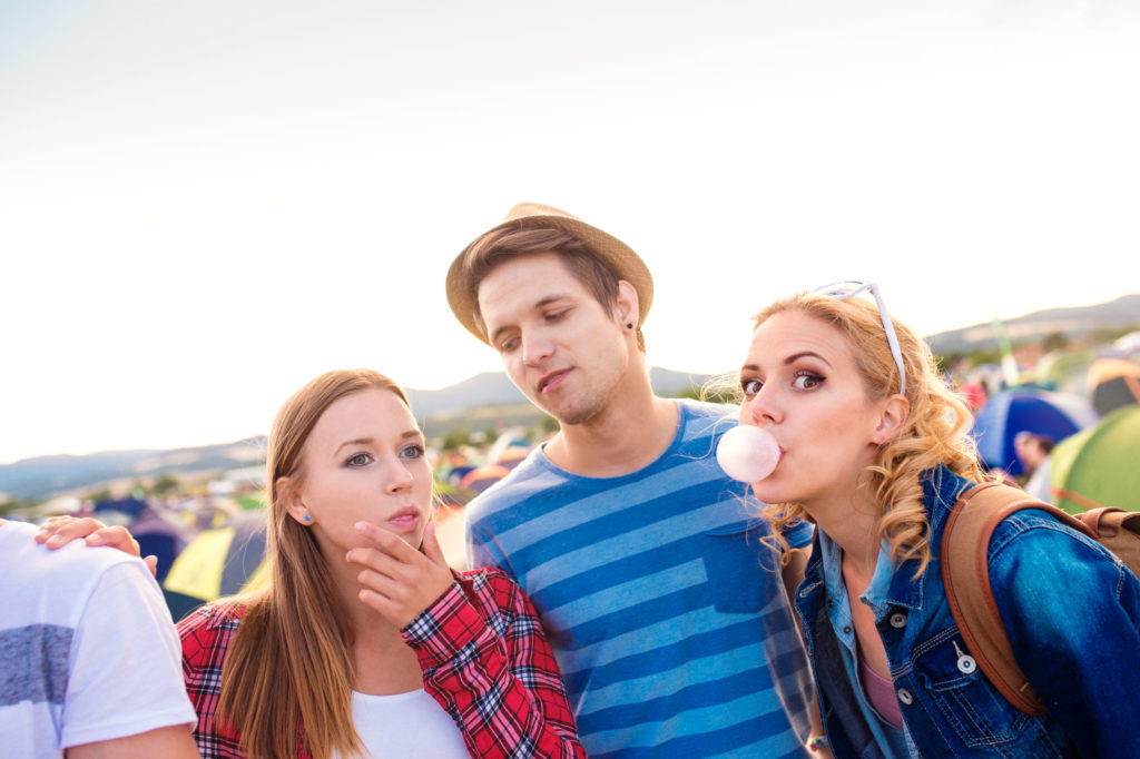 friends chewing gum